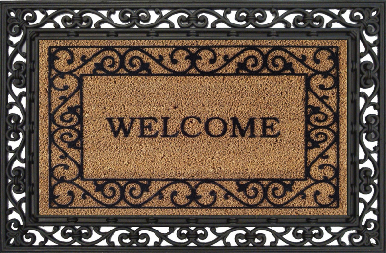 Coco Coir Traditional  quot Welcome quot  Mat - Coir Entrance Doormat  2RM047EG Welcome Mat Texture