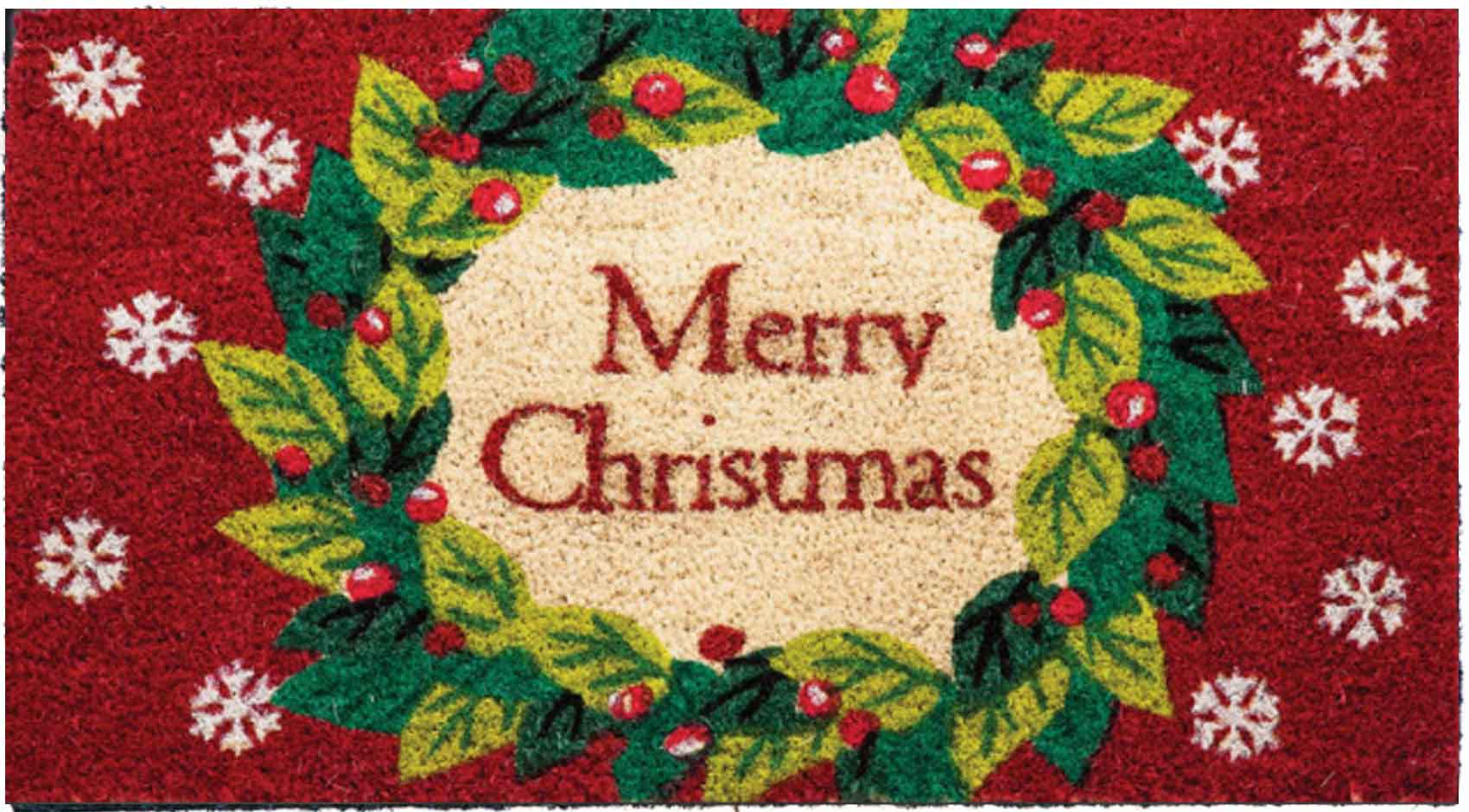 sc 1 st  Everything Doormats & Classic Coir Merry Christmas Wreath Doormat
