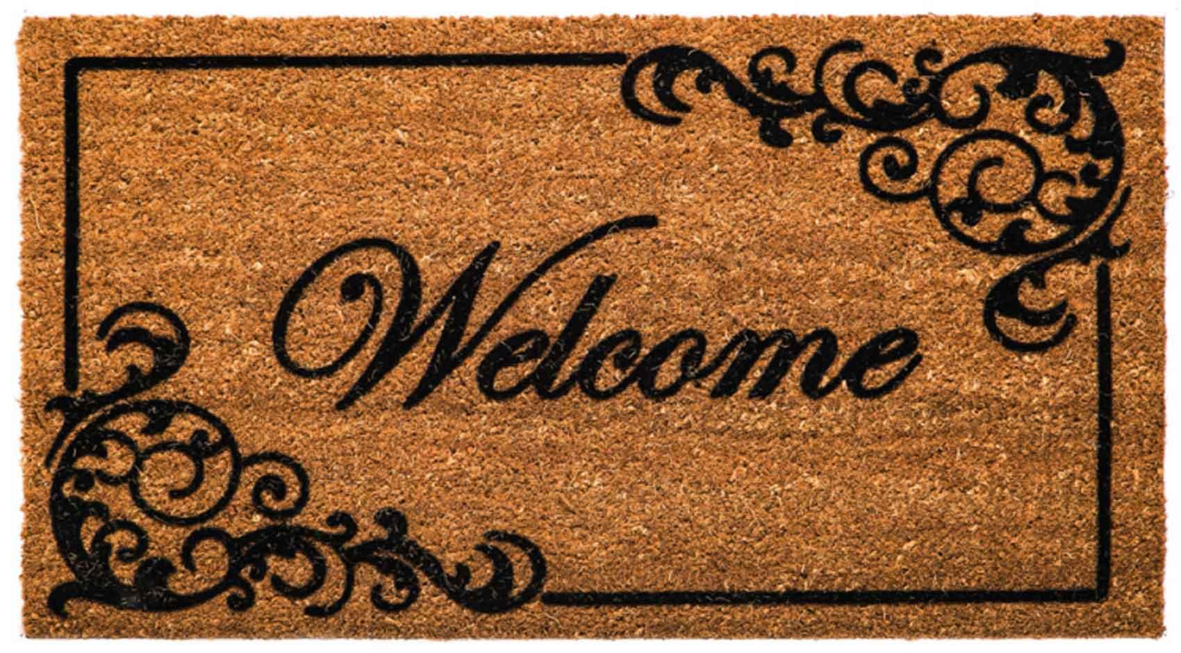 Coir Elegant Welcome Flocked Doormat - 16 x 28