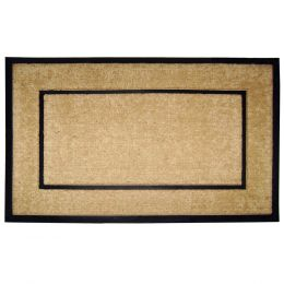 Black Rubber Frame Natural Coco Coir Doormat - Welcome Mat