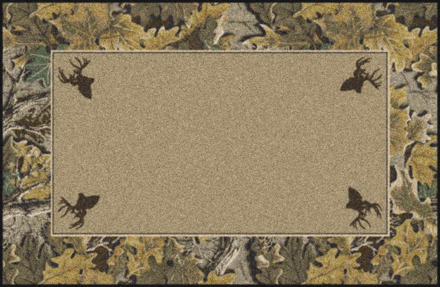 Advantage Realtree Bordered Amp Leaves Camouflage Nylon Area Rug