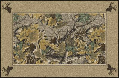 Advantage Realtree Bordered Leaves & Branches Camouflage Area Rug