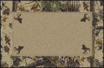 X-Tra Brown Realtree Bordered Tree & Leaves Camouflage Area Rug