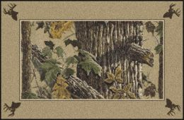 X-Tra Brown Realtree Bordered Leaves & Tree Camouflage Area Rug