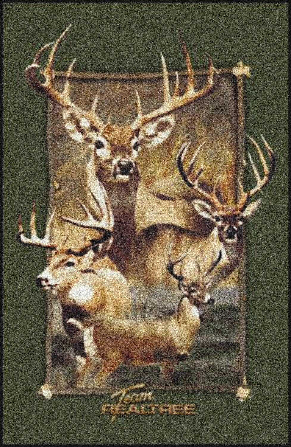 Realtree Deer Border Camouflage Nylon Area Rug