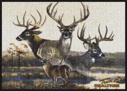 Realtree Deer Border Scenic Camouflage Nylon Area Rug