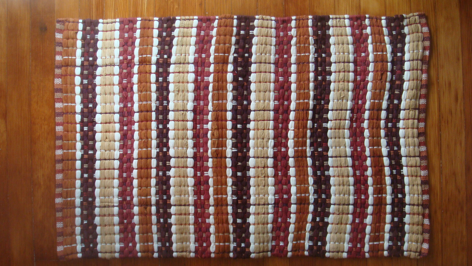 Darby Stripe Brown Red Woven Rag Rug