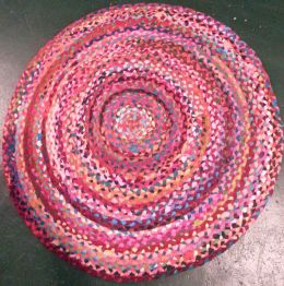 Round Carnival Woven Recycled Rag Rug