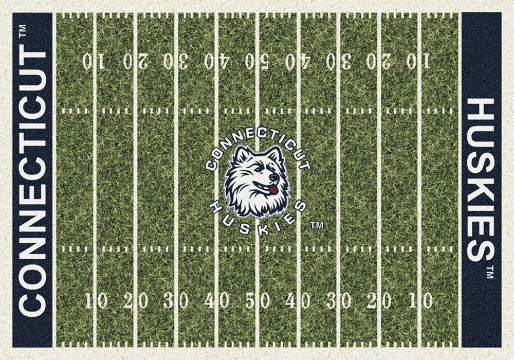 Connecticut Huskies Home Field Area Rug - Football Logo