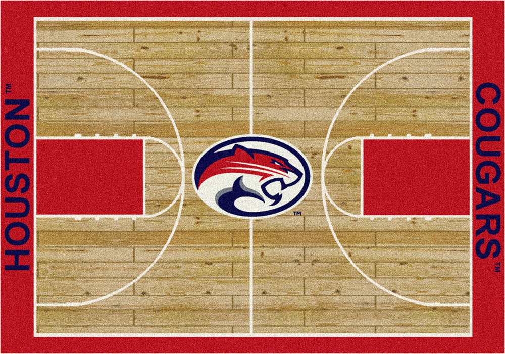 Houston Cougars Basketball Home Court Nylon Area Rug
