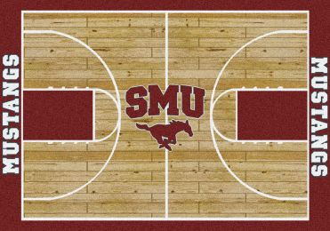 Southern Methodist Mustangs Basketball Home Court Nylon Area Rug