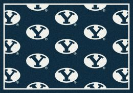 BYU Cougars Repeat Logo Area Rug - College Mat