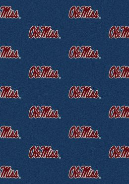 Mississippi Ole Miss Rebels Repeat Logo Area Rug - College Mat