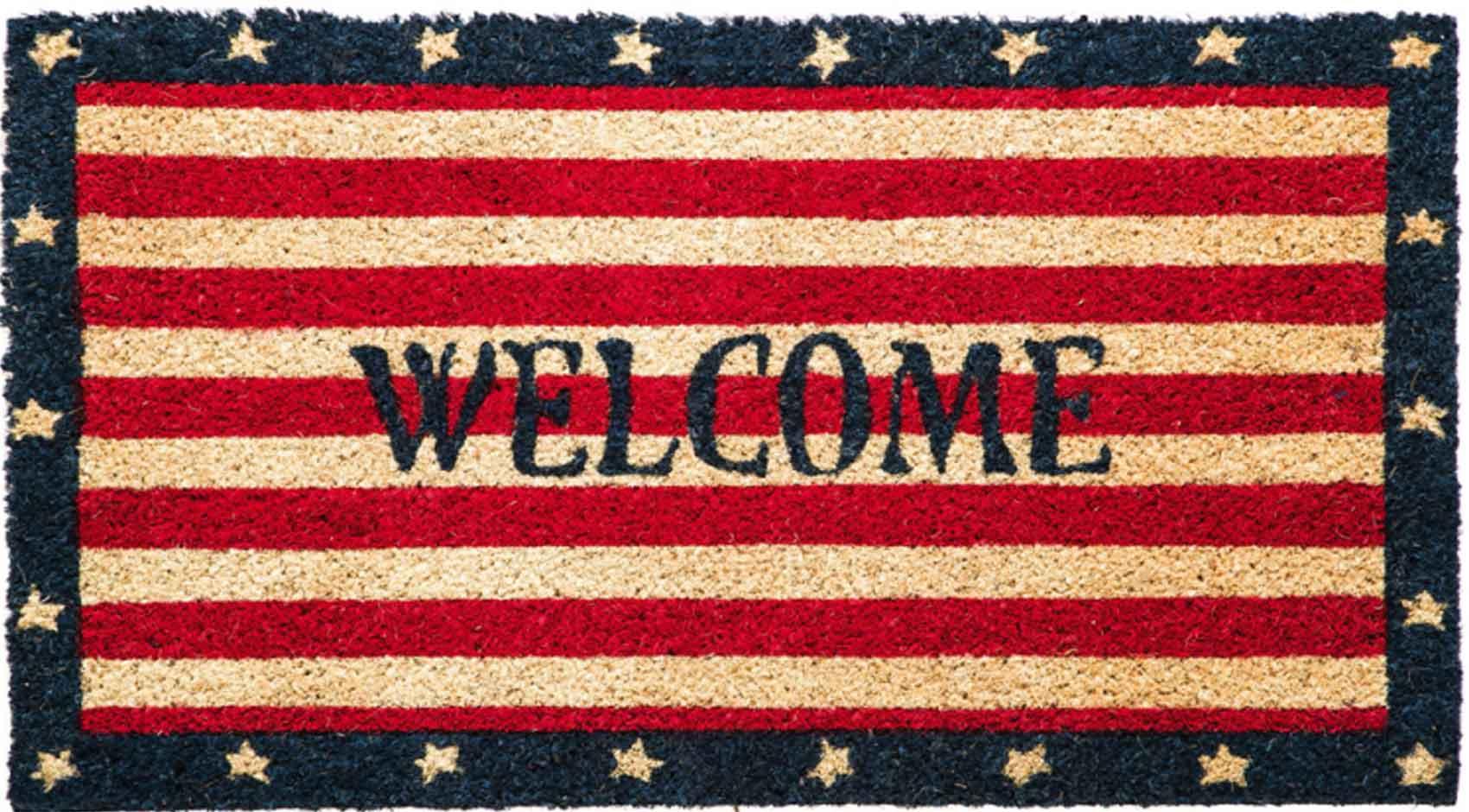 coco coir patriotic welcome rubber backed doormat 16 x 28