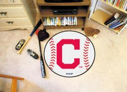 Cleveland Indians Area Rug - Nylon Baseball Shaped