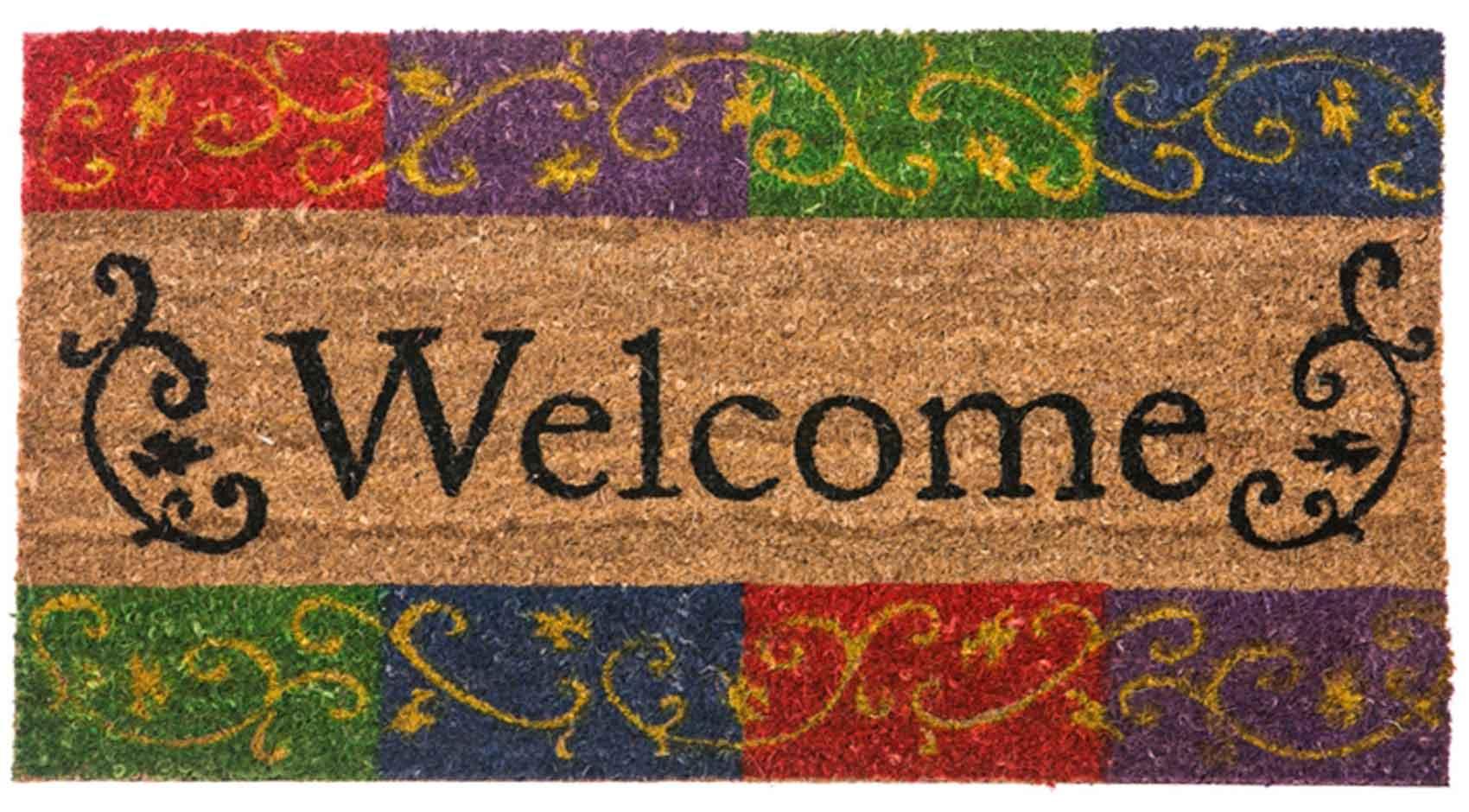 Coco Coir Welcome Flourish Rubber Backed Doormat   16 X 28