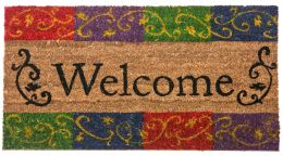 Coco Coir Welcome Flourish Rubber Backed Doormat - 16 x 28