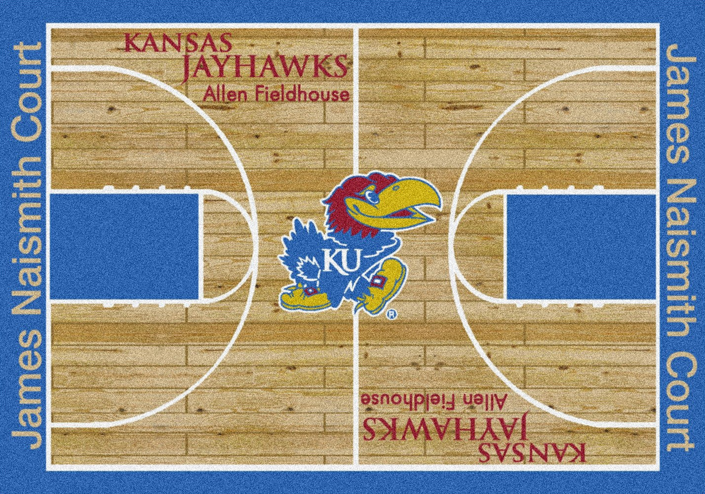 Ku Jayhawks Basketball Home Court Nylon Area Rug