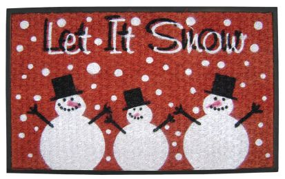 SuperScraper Vinyl Coco Coir Doormat - Let it Snow