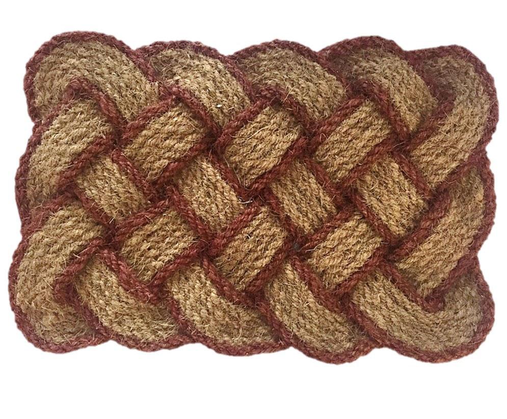 Natural Fiber Lovers Knot Coir Doormat Brown Border
