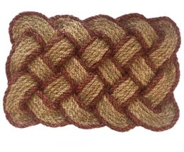 Natural Fiber Lovers Knot Coir Doormat - Brown Border