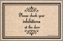 Humorous Indoor/Outdoor Welcome Mat - Check Inhibitions