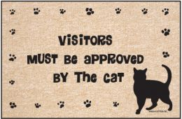 Humorous Indoor/Outdoor Welcome Mat - Visitors Approved by Cat