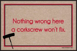 Corkscrew Fix Funny Doormat - Indoor/Outdoor Humorous Welcome Mat