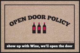 Open Door Policy - Wine Doormat
