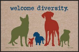 Welcome Diversity Humorous Pet Indoor/Outdoor Floor Mat