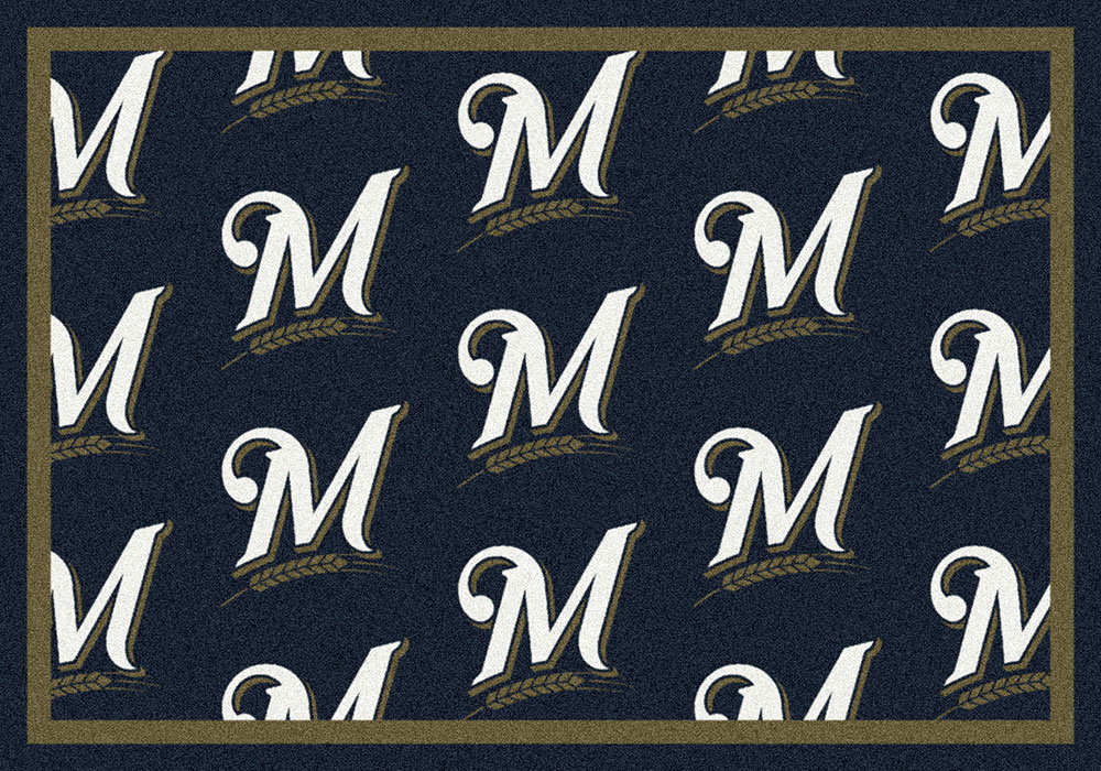 Milwaukee Brewers MLB Repeating Logo Nylon Area Rug