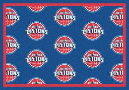 Detroit Pistons NBA Repeating Logo Nylon Area Rug