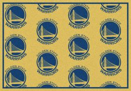 Golden State Warriors NBA Repeating Logo Nylon Area Rug