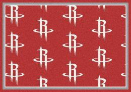 Houston Rockets NBA Repeating Logo Nylon Area Rug