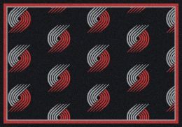 Portland Trail Blazers NBA Repeating Logo Nylon Area Rug