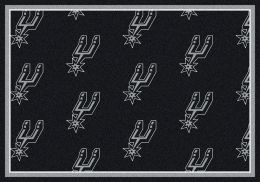San Antonio Spurs NBA Repeating Logo Nylon Area Rug