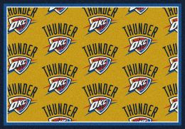 Oklahoma City Thunder NBA Repeating Logo Nylon Area Rug
