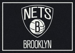 Brooklyn Nets Spirit NBA Basketball Logo Area Rug