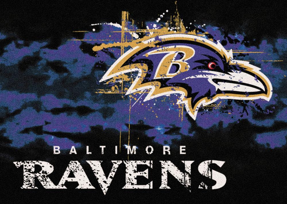 Baltimore Ravens Fade Logo Area Rug Nfl Football Mat