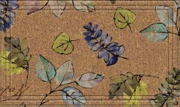 Naturelles Natural Leaves Faux Coir Rubber Backed Floor Mat
