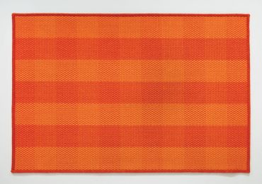 Orange Plaid Jute Rug