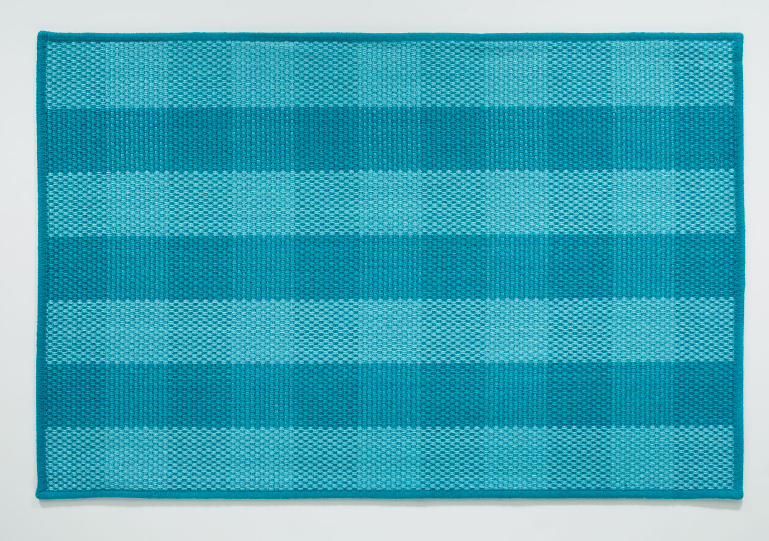 Light Blue Plaid Jute Rug