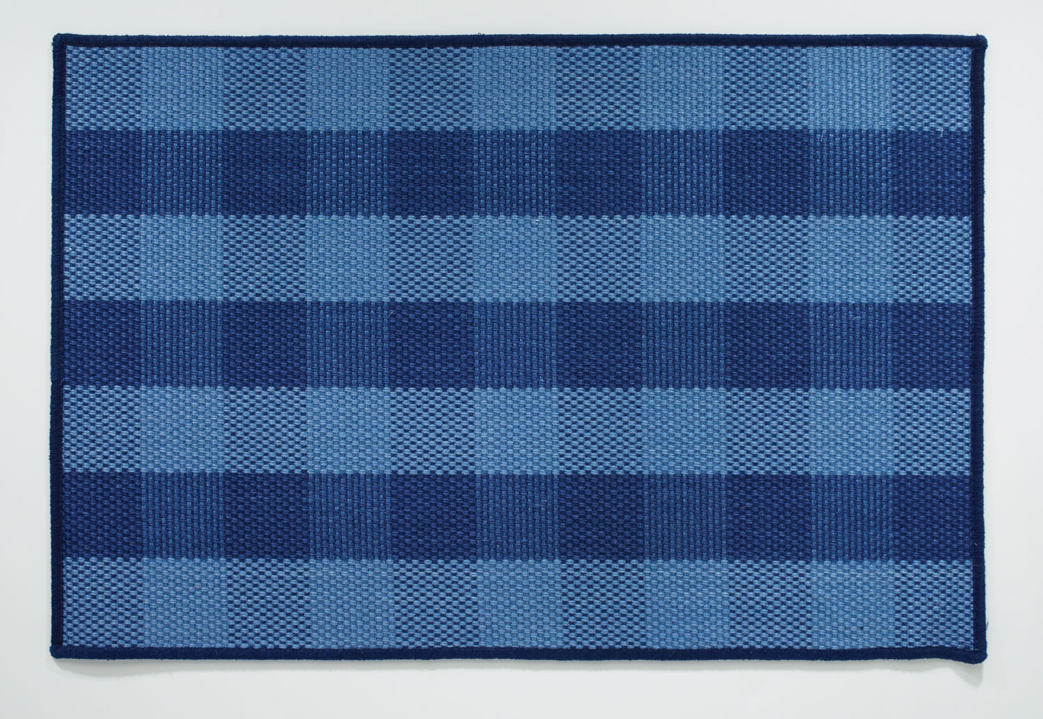 Dark Blue Plaid Jute Rug