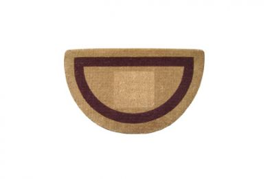 Half Round Brown Frame Natural Plain Coir Doormat