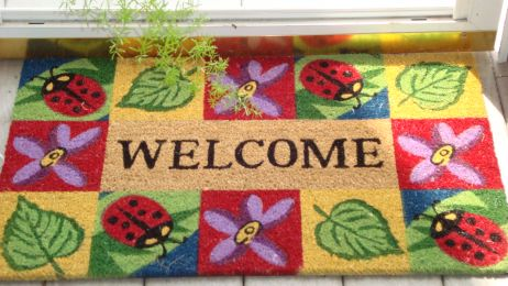 SuperScraper Vinyl Coco Coir Doormat - Ladybug Welcome