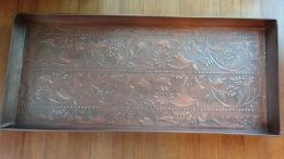 Embossed Antique Scroll Copper Finished Boot Tray - 34x14x2