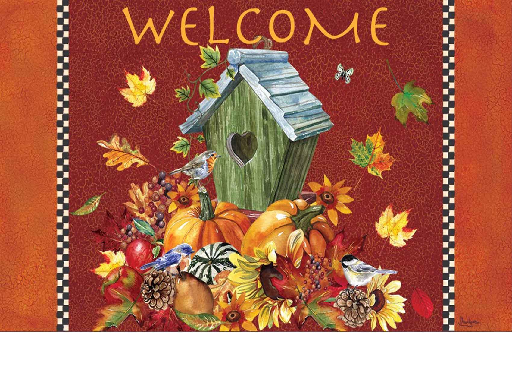 Indoor Amp Outdoor Autumn Birdhouse Insert Doormat 18x30