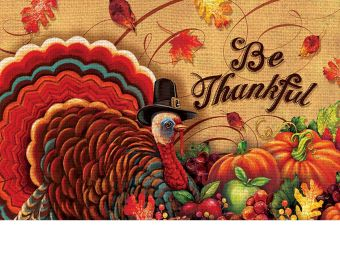 Indoor & Outdoor Be Thankful Insert Doormat - 18x30