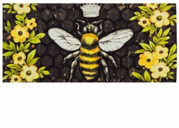 Sassafras Bee Happy Queen Bee Mat - 10 x 22 Insert Doormat