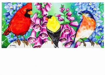 Sassafras Birds on Fence Mat - 10 x 22 Insert Doormat
